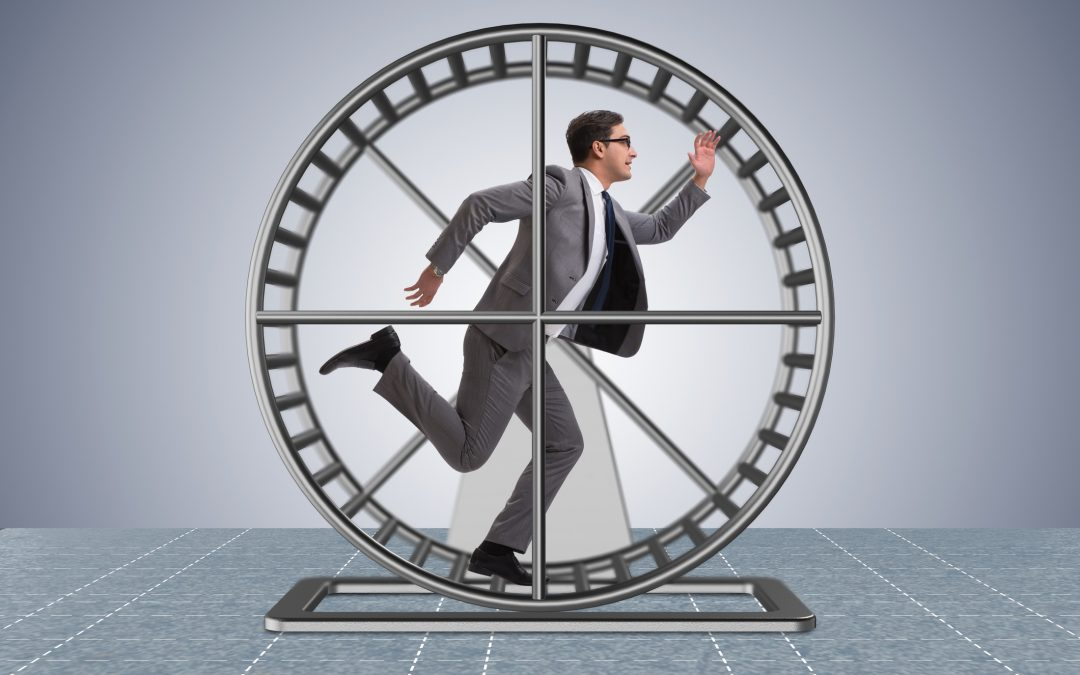 Business man on hamster wheel